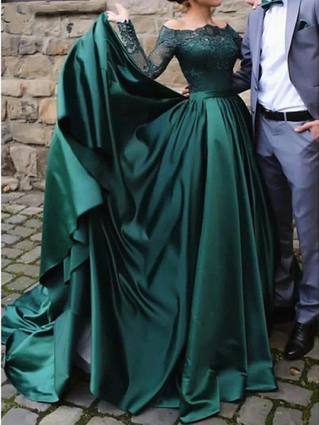 Muçulmanas manga comprida Lace verdes vestidos de noite elegantes de 2020 fora do ombro cetim Formal Party Dress Prom vestido de baile