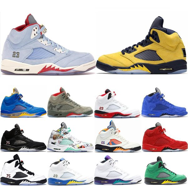 With Box Michigan Inspire Trophy Room 5s Ice Blue Men Basketball Shoes 5 Laney Yellow Bred Red Suede Metallic Black Sports Sneakers