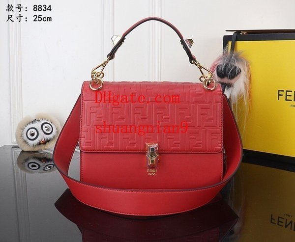 One Shoulder Solid color bag Widened adjustable strap Full F letter with square button on Cube off-w1701