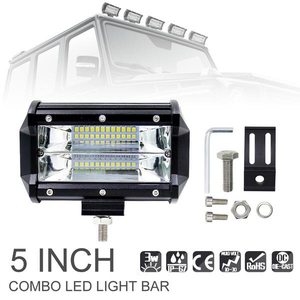 2 unids 72 W LED barra de luz de trabajo 12 V 24 V 5 pulgadas Super brillante 24 LED Spotlight Lamaparas 7000 K para Offroad Truck coche iluminación del barco