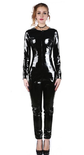 Hot Sexy Catwomen Faux Leather Latex Zentai Catsuit Smooth Wetlook Jumpsuit Front double Zipper Black PVC Full Bodysuit Playsuit