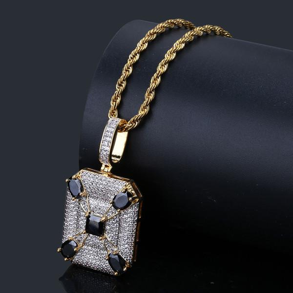 Vintage Geometric Square Pendant Necklace with Chain for Men Hip Hop Jewelry Black Cubic Zirconia Necklace