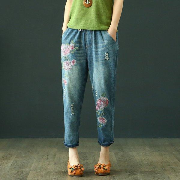 Buzağı Uzunluğu Harem Pantolon Prairie Chic Jeans Kadın Elastik Bel Nakış Cepler Ripped Desen Yıkanmış Vintage Yumuşatıcı Gevşek