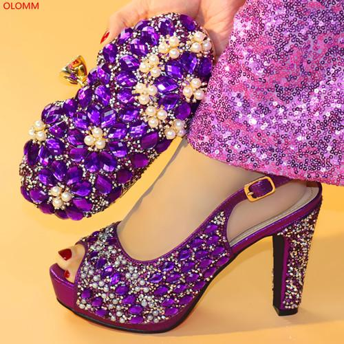 Fashion Woman's Shoes and Bag Set Nigeria Italian Shoes And Bag To Match Fuchsia Color Shoes With Big Flowers Decoration! XX1-6