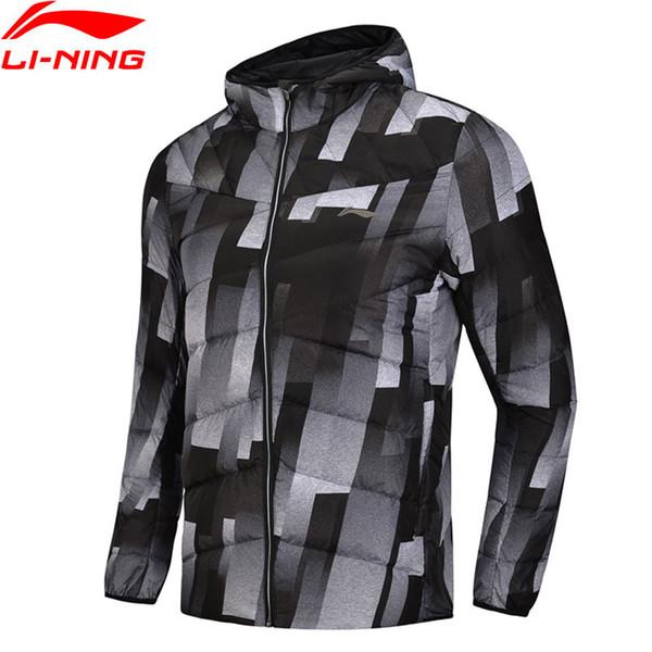 Li-Ning Мужская серия тренировочных пуховиков с капюшоном из полиэстера 90% белая утка вниз 3D облегающие LiNing теплые спортивные пальто AYMN049