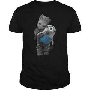 Baby Groot hug Minion Men's BlaRock T-Shirt Tees Clothing