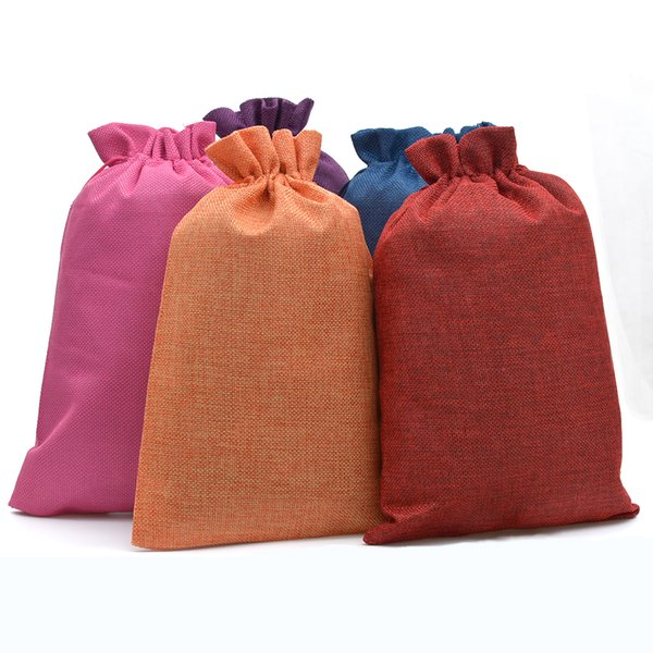 50pcs Large Jute Packaging Bag Linen Jute Drawstring Pouches 20x30cm Jewelry Packaging Wedding Favor Bag for Candy Handmade Soap