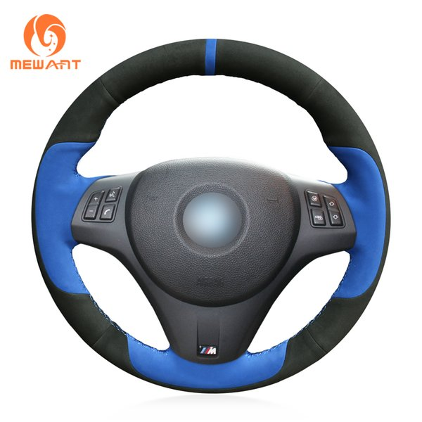 MEWANT Blue Black Suede Hand Sewn Car Steering Wheel Cover for BMW M3 2009-2013 E92