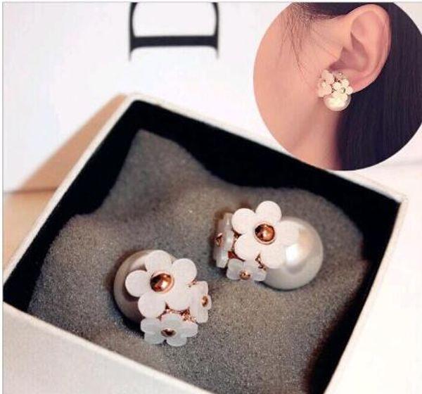 Corée bijoux à la mode mignon perle fleur de marguerite avant et arrière bulle Boucles d'oreilles double face femmes oreilles percées Mix