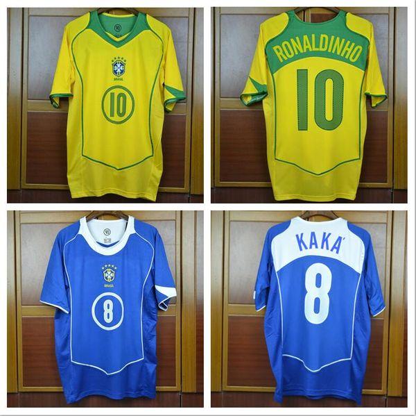 Чемпионат мира 2004 Бразилия дома в гостях синие майки КАКА РОНАЛЬДО Ривалдо Бразилия ретро футболки Карлос Ромарио Роналду Роналдиньо Джерси
