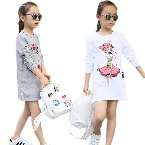 Acheter Enfants Robes Pour Les Filles Blanc Belle Fille De Bande Dessinée Bande Dessinée Filles Filles Chemise En Coton Extensible T Shirt à Manches