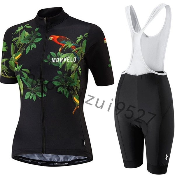 Hot New Morvelo Short Sleeves Cycling Jersey Set Summer Women Mtb Bicycle Clothing 9d Gel Pad Bib Shorts Bike Clothes Sets Sportswear