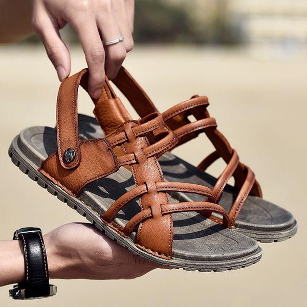 Mens Athletic Outdoor Sandalen Open Toe Hausschuhe Casual Leder Flache Schuhe Weiche bequeme Strand Sandalen