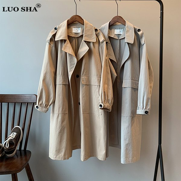 luosha autumn new women's cotton turn-down collar casual trench coat oversize singlebreasted outwear plus size loose clothing