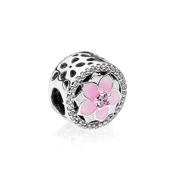 Esmalte rosa Flor de Magnólia Europeu Beads Encantos caixa Original para Pandora 925 Pulseira De Prata Esterlina Fazendo Encantos Jóias acessórios
