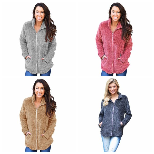 Zipper Sherpa Sweatshirts 4 Colors Women Soft Fleece Hoodies Autumn Winter Warm Solid Sweater Outdoor Jacket Home Clothing 36pcs OOA6016