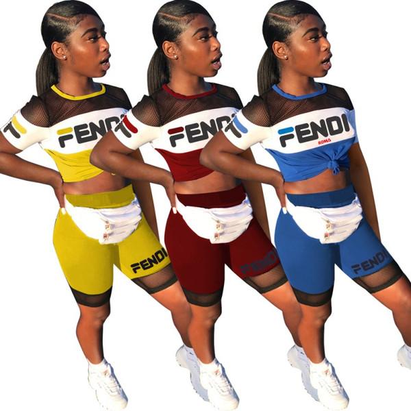top popular women designer tracksuit short sleeve outfits shirt pants 2 piece set skinny shirt short tights sport suit pullover pants hot klw0903 2019