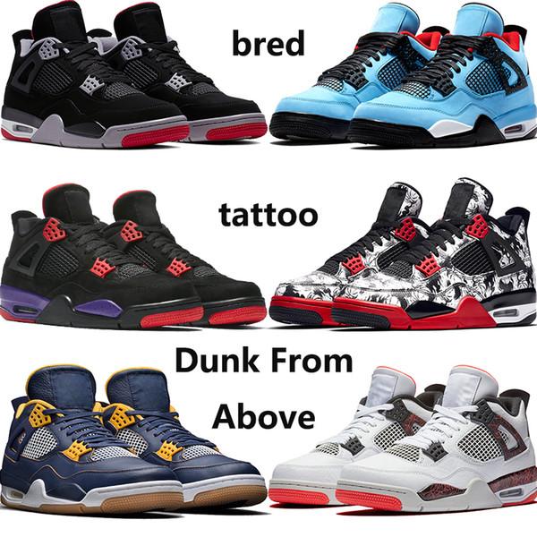 Bred 4 4s Basketballschuhe Herren grün wachsen Cavs Weißzement Oreo Tattoo Feuer rot Mode Luxus Designer Herren Schuhe US7-13