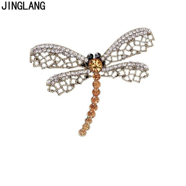 Vintage Bronze Color Animal Brooches Pins Rhinestone Pierced Dragonfly Brooches For Men Dress Decoration Jewelry accessories 10pcs/lot