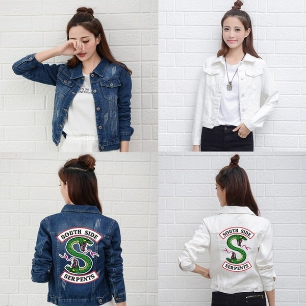 Riverdale New Denim Jacket South Side Serpents Streetwear Tops Spring Jeans Women Jacket Harajuku Fashion Denim Clothing Female