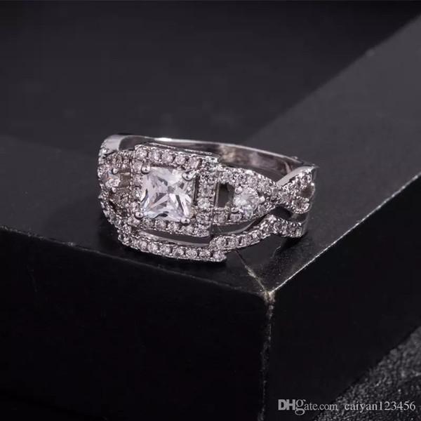 Anello Fashiob da donna 2-in-1 Anello con zaffiro bianco Gioielli Birthstone Set di anelli di fidanzamento da sposa in argento 925 placcato in argento