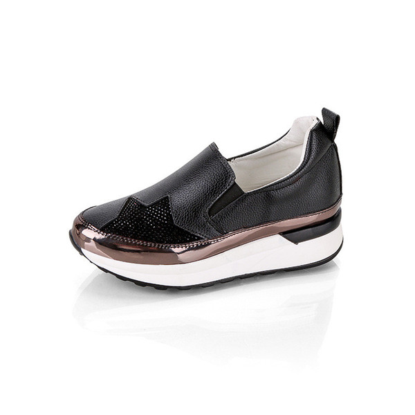 order detailed look purchase cheap Female Wedge Sneakers Platform Loafers White Shoes Woman Platform Sneakers  Women Casual Shoes Ladies Trainers Tenis Feminino Esportivo Black Shoes ...