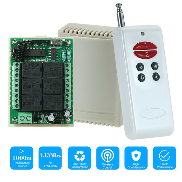 433 Mhz DC 12 V 6CH Kanal Universal 10A Relais Drahtlose RF Fernbedienung Schalter Empfängermodul 6 Schlüssel RF 433 Mhz Sender