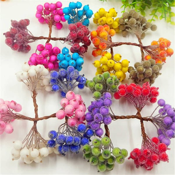 20pcs / 40 artificial pomegranate red cherry bouquet mini fake fruit glass berry stamens DIY gift box collage decorated stamens C18112601