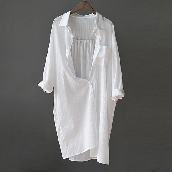 Camisa de manga longa plissada blusa branca das mulheres chique senhora do escritório do vintage feminino saias casuais top 2019 primavera verão mulheres tops c19041201