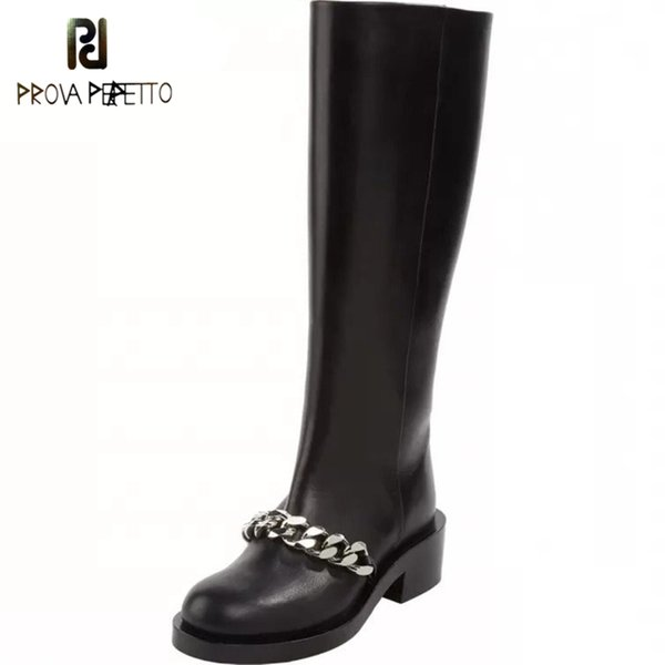 Prova Perfetto New Chic Gold Silver Chains Black Boots Women Motorcycle Heels Boots Brand Design Zipper Travel Botas For Girls