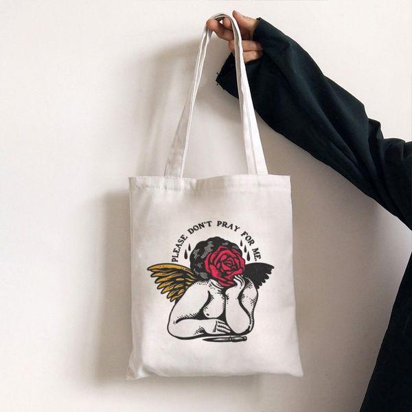 Caído Rose Anjo ombro de lona escuro Fun Harajuku dos desenhos animados Crossbody Saco Vogue New ulzzang Handbag Mulheres Bag Retro Carteira
