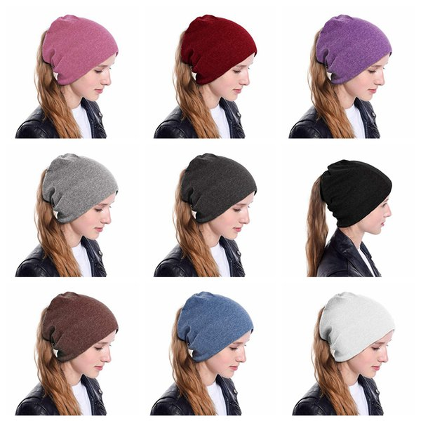 Kadınlar saçlarınızı kasketleri Kış hımbıl Katı Şapka Sıcak horsetai Beanie Kayak Açık Hip-hop Yumuşak Stretch Pamuk Cap LJJA3127