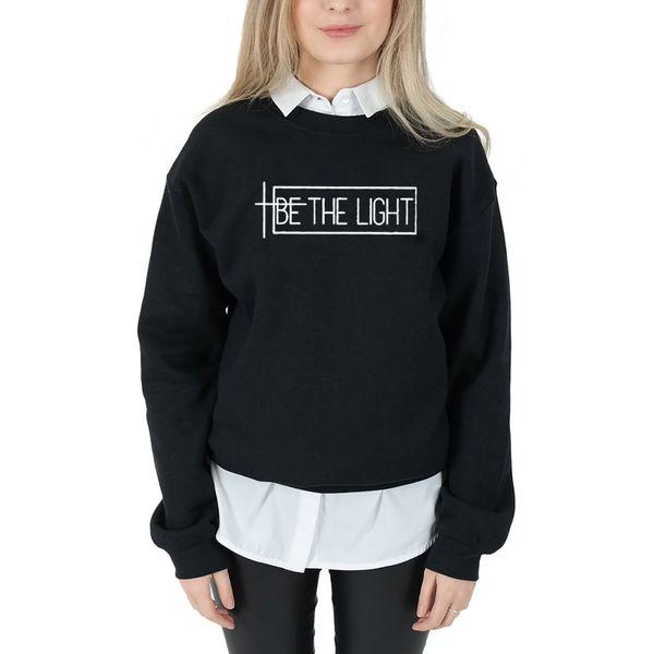 BE THE LIGHT Women Sweatshirt and Hoodies Pullover Crewneck Long Sleeved Harajuku Streetwear Faith Tumblr Christian Clothes Tops