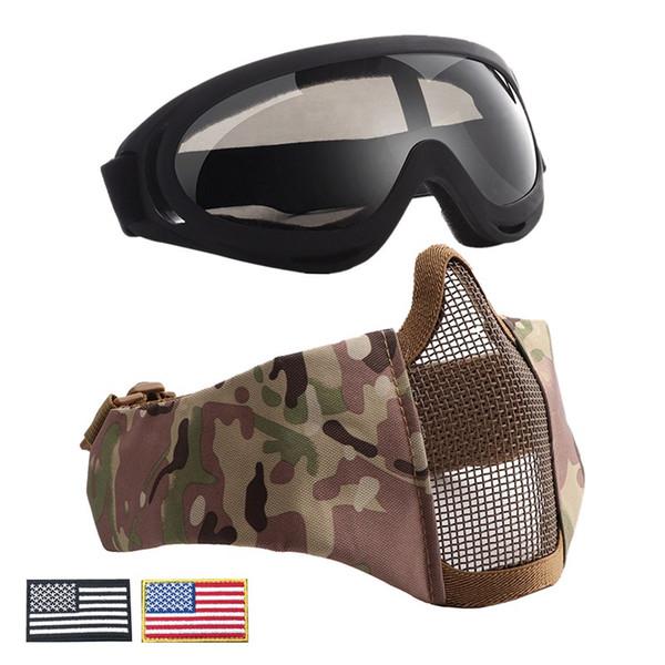 Metade da Face de Aço Conjunto Paintball Caça Protetora + Armband Mesh Óculos Xmas UV400 Partido Cosplay Tático Fio