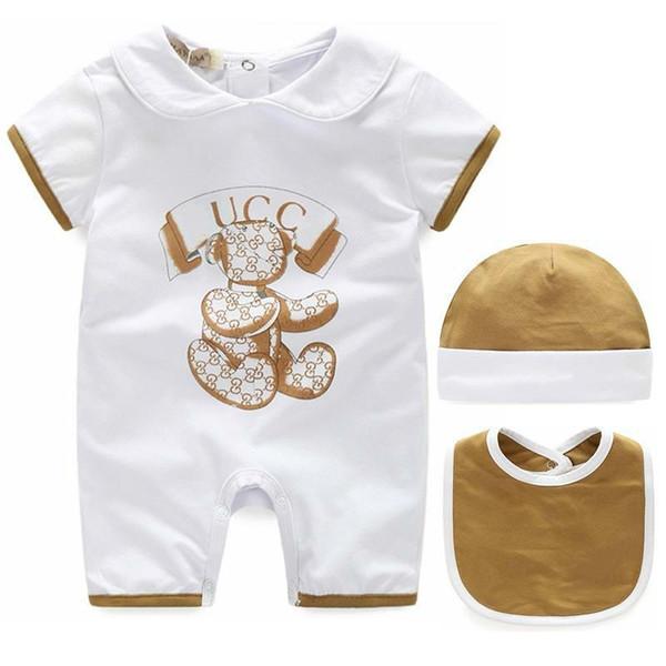 Babies Romper Baby Bodysuit Summer Short Sleeve Baby Clothes Boys Girls Hat Bib Three Piece Set Kids Dresses Comfortable Children's Dre