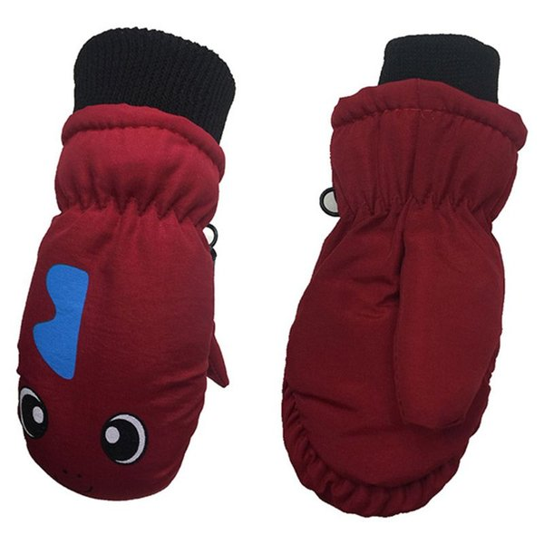 Kids Thick Lined Warm Gloves Cartoon Dinosaur Printed Waterproof Windproof HOT