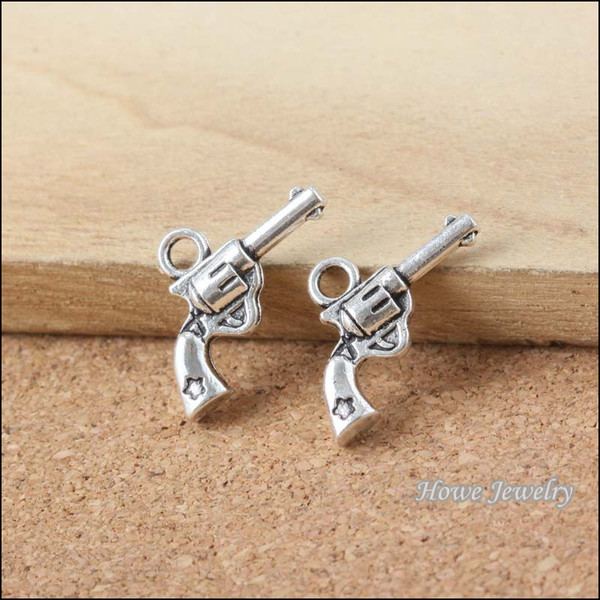 240 pcs Vintage Charms gun Pendant Antique silver Fit Bracelets Necklace DIY Metal Jewelry Making B053