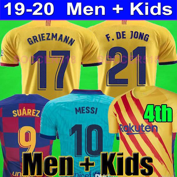 ANSUFATI FC BARCELONA camisas de futebol 2019 2020 Senyera Quarto 4 TER TERGEN ARTHUR manga comprida SUÁREZ MESSI crianças kits GRIEZMANN DE JONG uniformes VIDAL CARLES PÉREZ