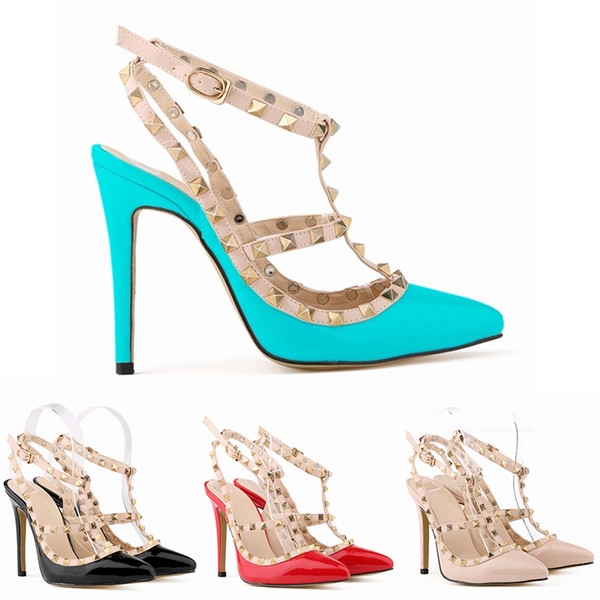 2019 Tasarımcı Kadınlar Yüksek Topuklu Parti Moda Perçinler Sandalet Kızlar Seksi Sivri Düğün Ayakkabı Dans Ayakkabıları Çift Sapanlar Sandalet 35-42