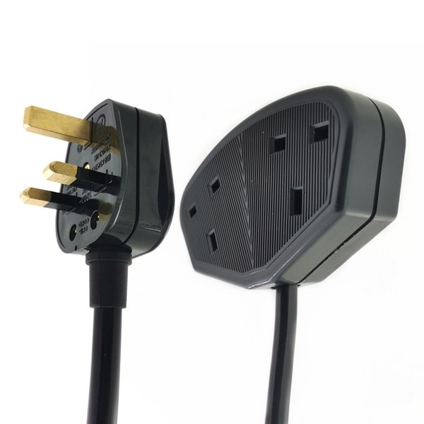 UK Male Plug to Double Female Socket Power Extension Cable With Fuse, 1 To 2 Outlet Rewirable AC Cord For Singapore Malaysia, ASTA Aprroved