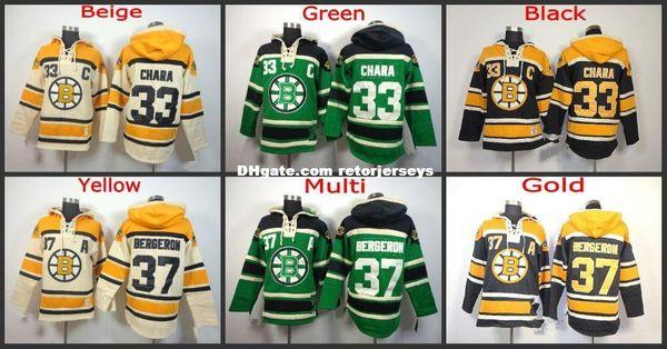 Factory Outlet, Neue Ankunft Boston Bruins Hoodie 33 Zdeno Chara 37 Patrice Bergeron Alte Zeit Eishockey Jersey Hoodies Sweatshirt genäht S-