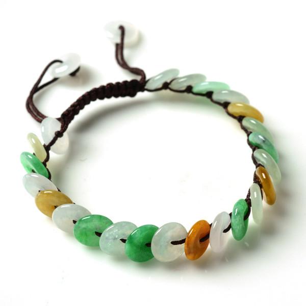 Natural Mianmar Esmeralda Pulseiras Sorte Amuleto Tricolor jade Pulseira pulseiras Para As Mulheres Presente