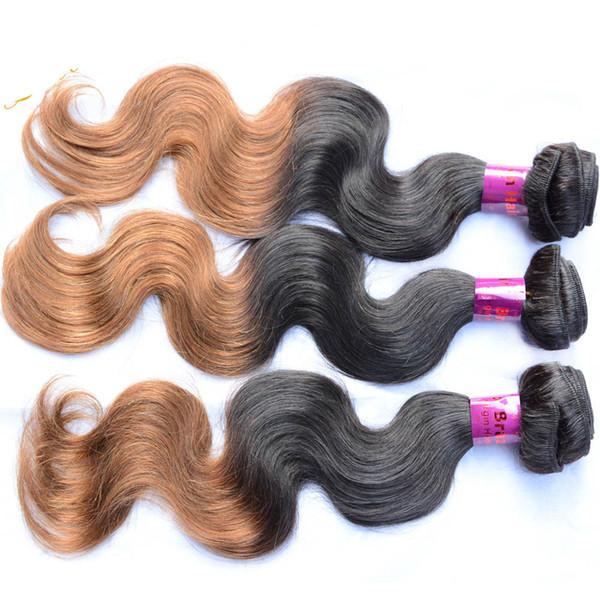 Mongole birman chinois vietnamien ombre cheveux humains 3/4/5 faisceaux teints à la vague de corps vierge remy cheveux crus tisse trame 1B / 6 brun