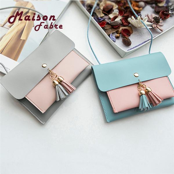 Cheap Fashion HB@Women Fashion Double Deck Cover Tassels Crossbody Bag Shoulder Bag Phone Bag