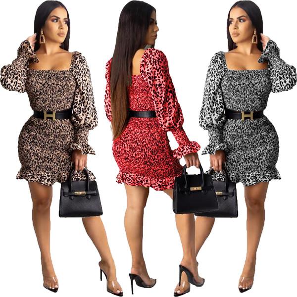 2019 späteste heiße Frauen arbeiten reizvollen Leopard Smocked Kleid drei Farben S-XL