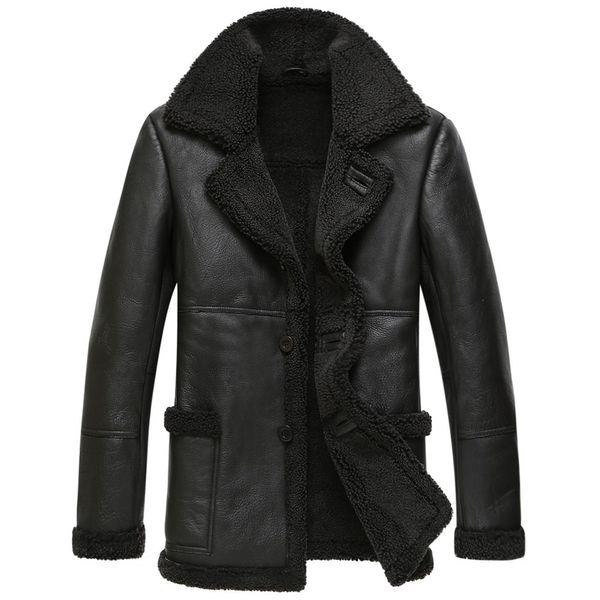 Chaqueta de cuero genuino para hombre Chaqueta de invierno Abrigo de piel de lana natural Abrigo de piel de oveja real para los hombres Chaquetas de aviador Más tamaño 4xl MY2018