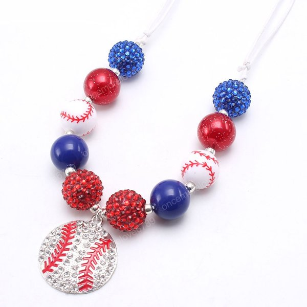 top popular Newest baby chunky bubblegum beads necklace with rhinestone baseball pendant for kids girls adjustable rope jewelry diy 2021