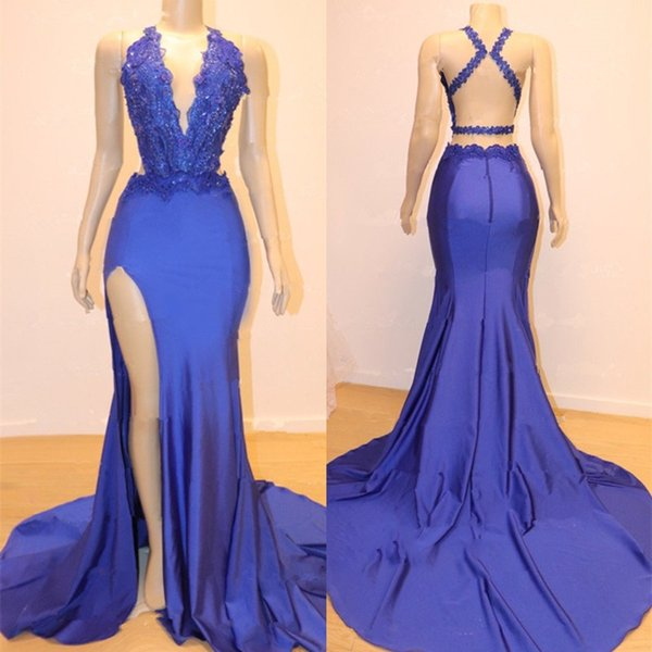Real Photos 2019 Cheap Mermaid royal blue prom dress Party Dresses Lace Applique Beaded Backless Sweep Train Evening Gowns robes de soirée
