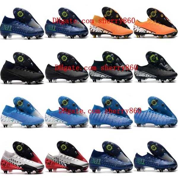 2019 erkek futbol krampon Mercurial Superfly 7 Elite SG-PRO AC futbol ayakkabıları ucuz CR7 Mercurial Buharlar 13 Elite SG-PRO krampon