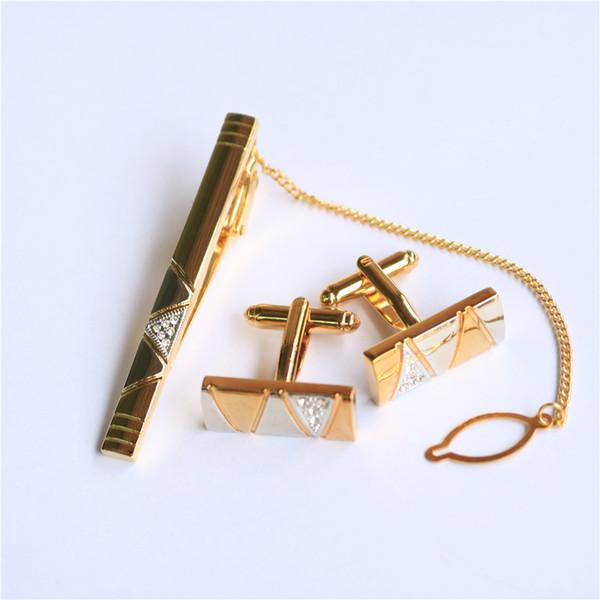 Conjunto de botões de punho de gravata de ouro BXLE na caixa de presente, pequeno conjunto de barra de gravata de cristal com corrente e abotoaduras, Abotoaduras de casamento romântico